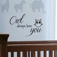 Decals Owl always love you Vinyl Inspirational quotes home decal wall sticker
