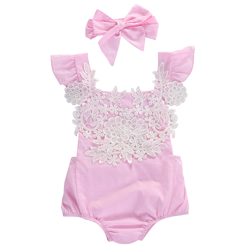 Cute Newborn Infant Baby Girls Clothes Pink Lace Floral Bodysuit Outfits Sunsuit 0 18M