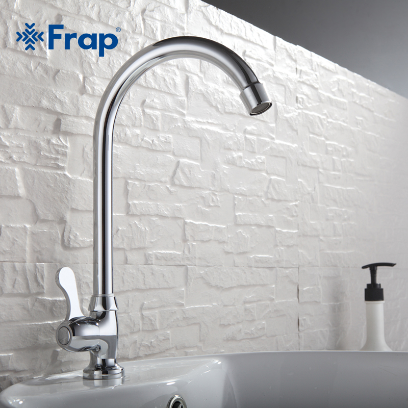 цена на Frap Single cold kitchen faucet vegetables basin plumbing hardware faucet sink faucet Brass Body 360 degree rotation F4108-51