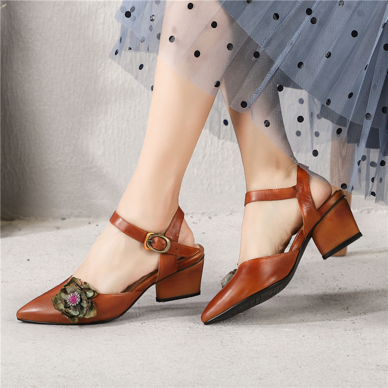 da971139f4f Tyawkiho Women Leather Sandals Flower 5 CM Low Heels Summer Shoes Genuine  Leather Women Sandals Pointed Toe Shoes Handmade175