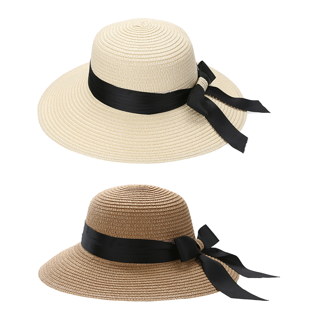 Summer Women Flat Sun Hat European Casual Fashion Bowknot Straw Block Wide Brim Sunshade Holiday Beach Cap Sunhat Female Girls