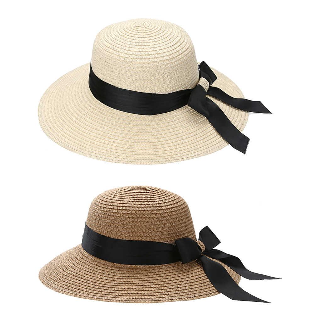 407d5beb1253ba Summer Women Flat Sun Hat European Casual Fashion Bowknot Straw Block Wide  Brim Sunshade Holiday Beach