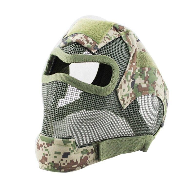Filet en métal plein visage tactique protéger la couverture de masque à gaz fronde militaire Cosplay jeu de pistolet Airsoft cyclisme protection mask2
