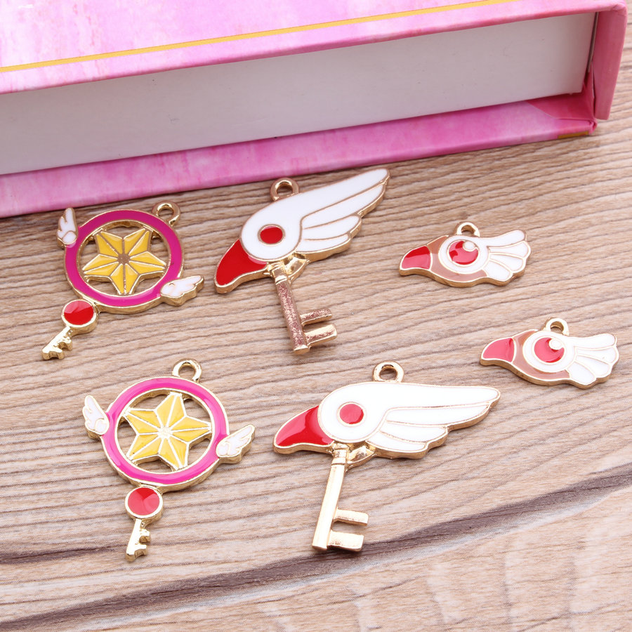12pcs Golden Magic girl Sakura Charm, 3 Kinds Metal Charms for Bracelet/Chorker