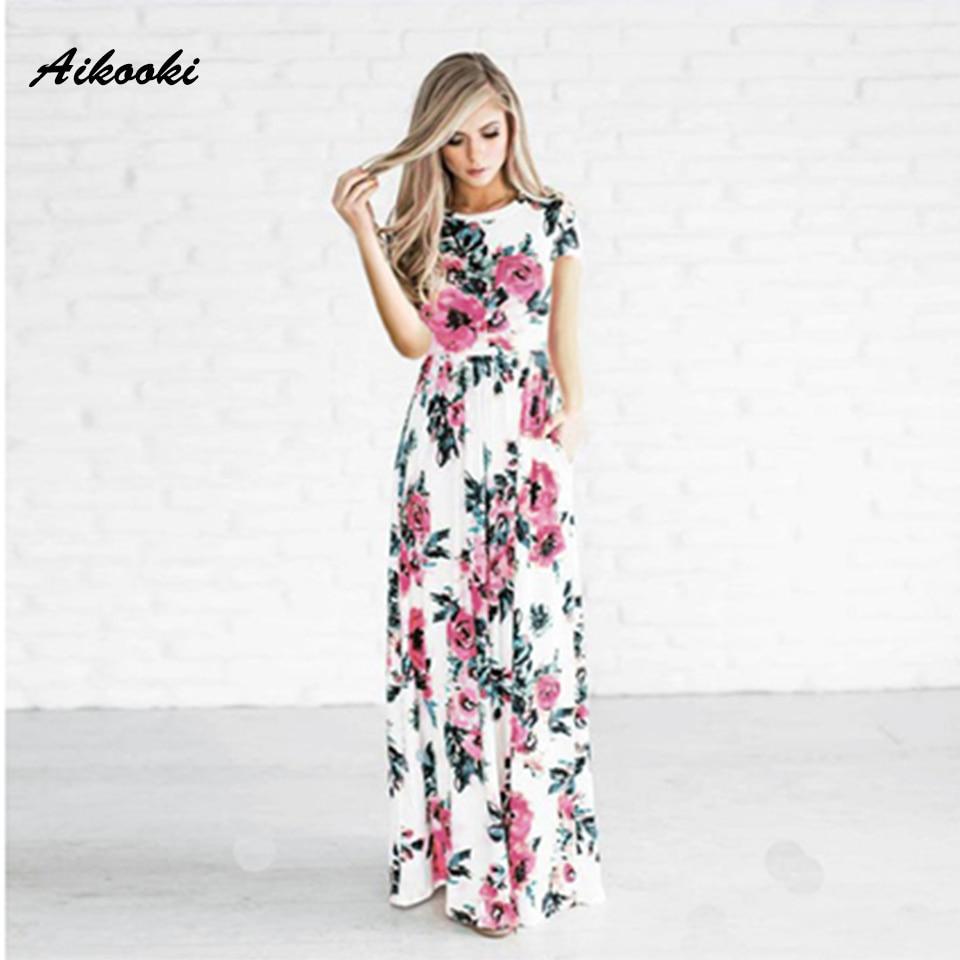 Aikooki 2018 New Summer Long font b Dress b font font b Floral b font font