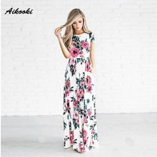 Aikooki 2018 New Summer Long Dress Floral Print Boho Beach Dress Tunic Maxi Dress Women Fashion Dress Sundress Vestidos de festa