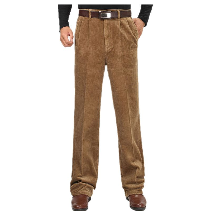 Idopy Male Winter High Waist Corduroy Pants Plus Size 46 Thicken Fleece Warm Pants Velvet Business Loose Trousers Jeans