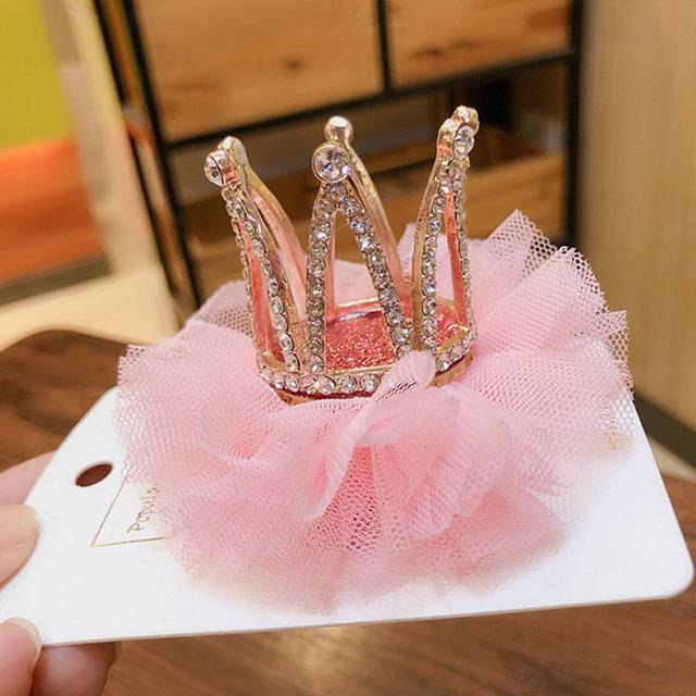 Rhinestone Crown Lace Kids Girls Headwear Princess Sweet Girls Hair clip hairpins For Girls Baby Hair Accessories Tiaras Kids 3Y