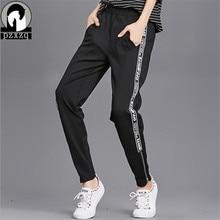 Fermeture éclair manchette Design taille élastique pantalon joggeurs femmes lettre rayure Harem Camo pantalon Streetwear Punk noir Cargo pantalon
