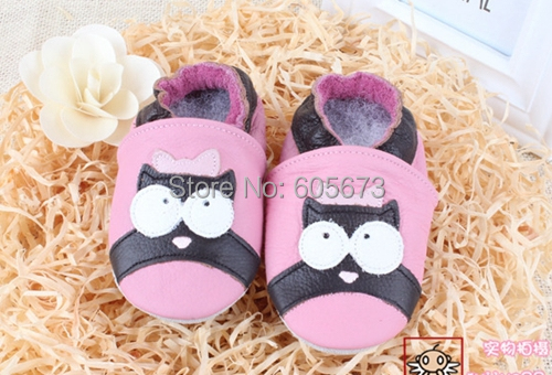 kids Head Layer Cow shoes soft leather pink owl shoes Baby girl shoes .