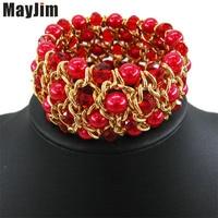 MayJim fashion women 2017 multilayer crystal elastic Pearl bracelets & bangles bead gold chain bracelets Bangle Wristband Bijoux
