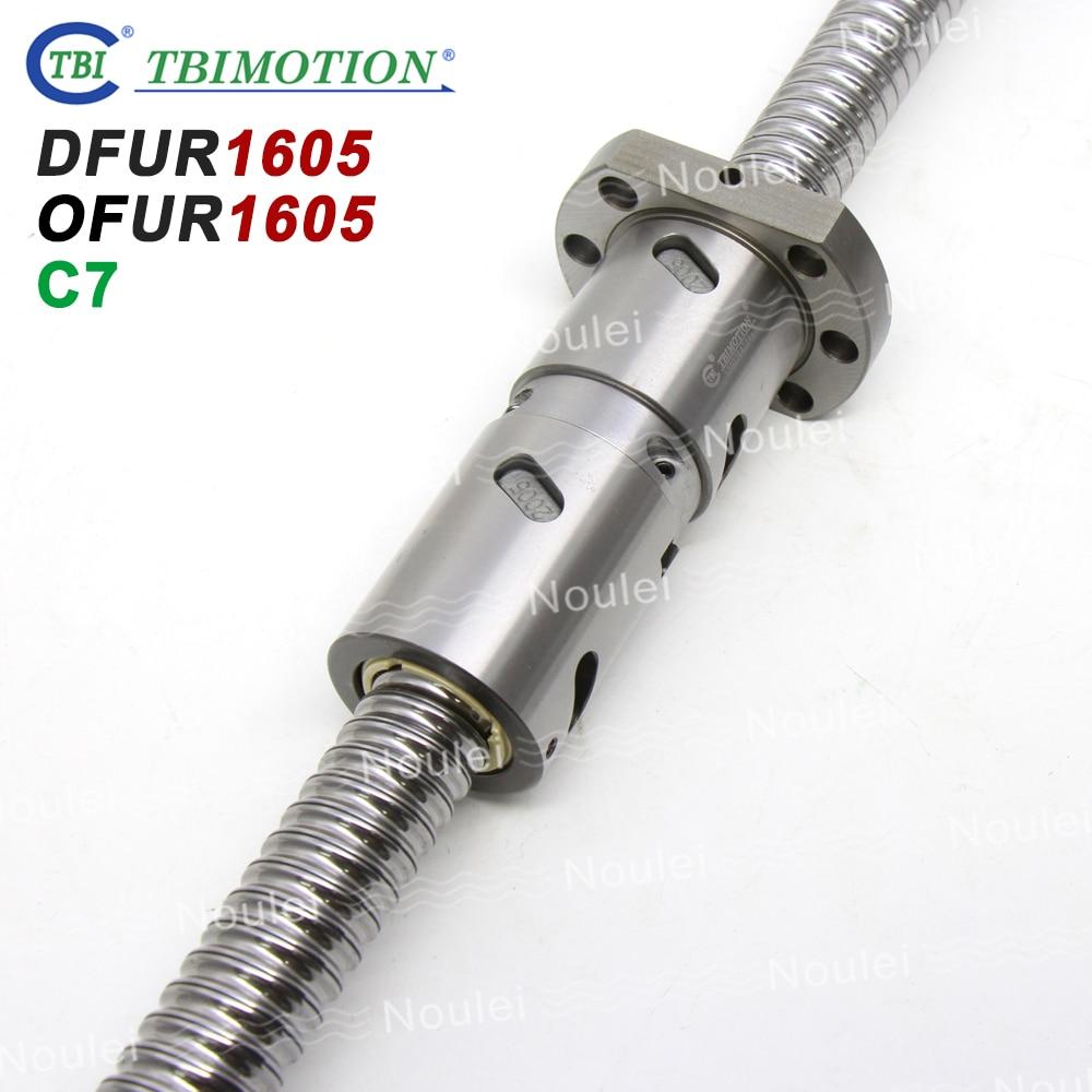 TBI Double Ballnut Ball screw DFU1605  OFU1605 5mm lead C7 1605 Ballscrew  with Custom Length 800mm 900mm