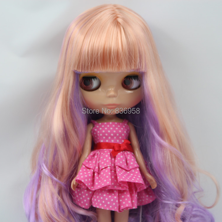 free shipping factory blyth doll Purple Mix golden Hair with bangs/fringes Tan Skin 1/6 toy gift цена