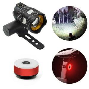 15000lm luz dianteira da bicicleta + luz traseira da cauda vermelha, t6 led zoomable bicicleta farol usb recarregável lâmpada de segurança flash luz