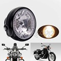 "7"" Motorcycle Motorcycle Headlight H4 35W Motorbike Amber Round Headlights Moto Turn Signal Metric Cruiser Chopper Cafe Racer"
