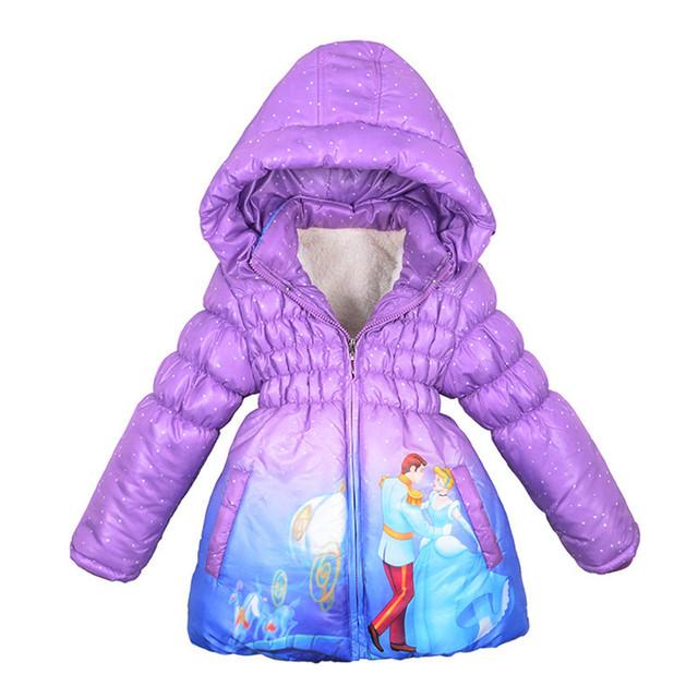 Novo 2017 Casaco de Inverno Meninas Cinderella Menina Crianças Outerwear Casaco de Algodão Paddad Roupas Crianças Casacos de moda princesa desgaste