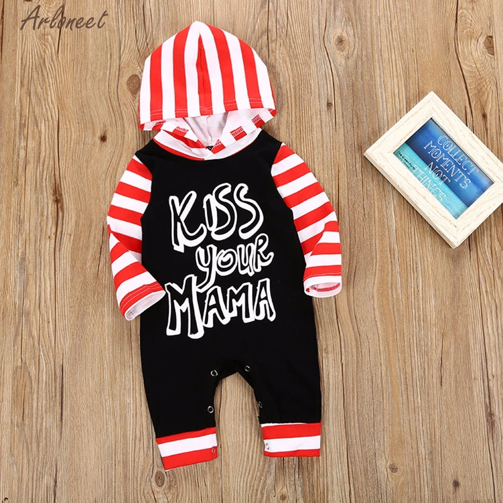 TELOTUNY Baby Boy Cotton clothes Newborn Infant Baby Girls Boy Letter Striped Hooded Jumpsuit Romper Outfit Set Y010230