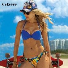 Bikini Solid Strappy Bandage Bikinis Set Push Up Bikini Swimwear Bandeau Printed Brazilian Swimsuit Bathing Suit Maillot De Bain цены