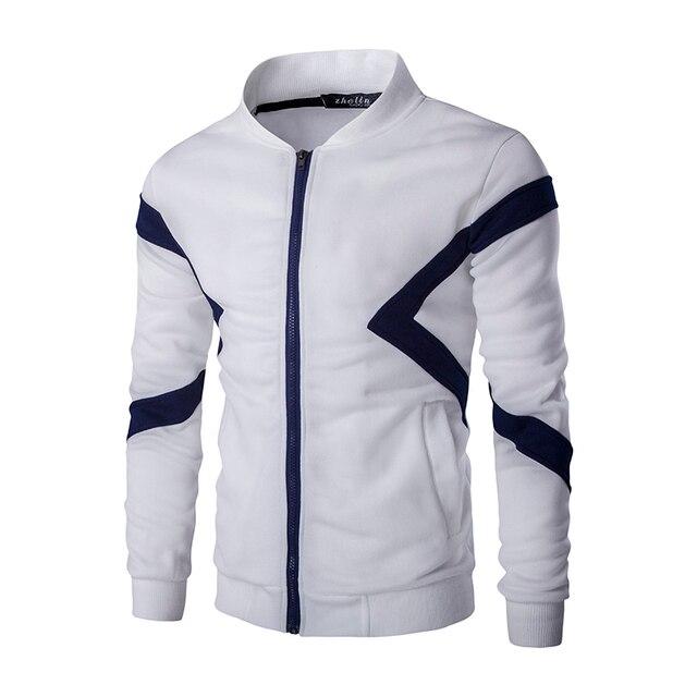 b654d9af715c 2017 neue Crewneck Pullover Sweatshirt Männlichen Kleidung Tops Reißverschluss  Hoodie Ohne Haube Patchwork Designs Casual Männer