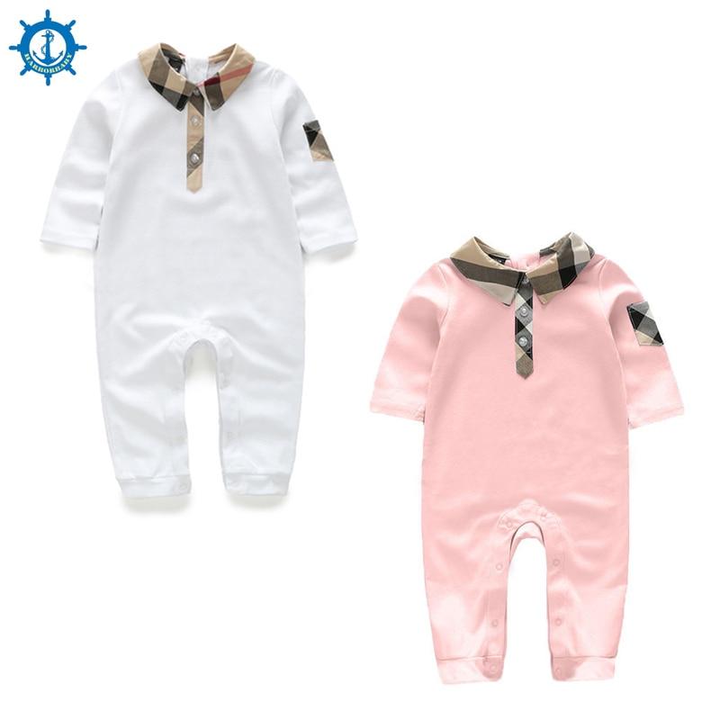 Bebek Tulum % 100% Pamuk Uzun Kollu Karikatürler 2 renkler Moda Stil Kız Bebek Giysileri Toddler Boy Tulumlar Bebe Roupas HB062