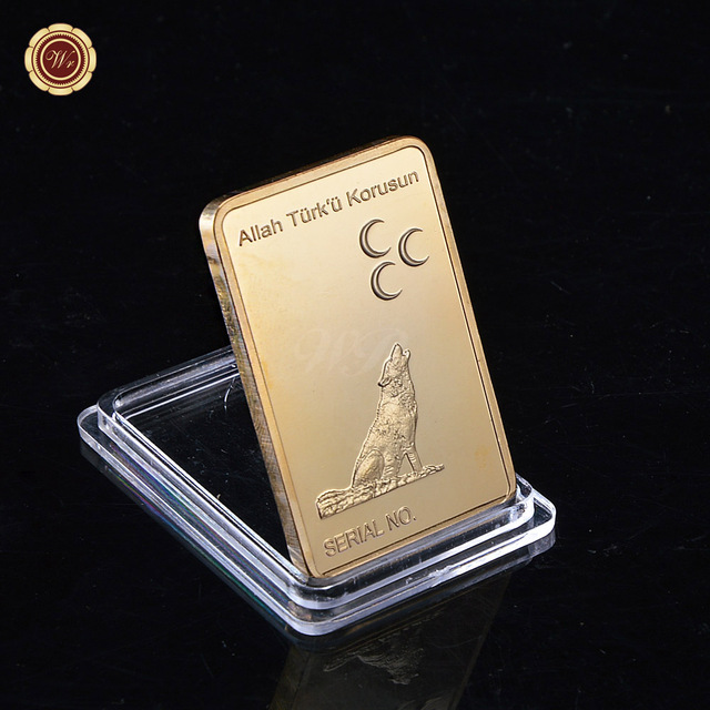 Wr Turku Korusun One Troy Ounce 1 Oz Ingot Gold Plated Wolf Bullion Bar With