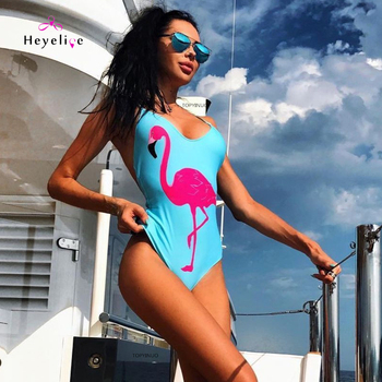 a46bff8a22f86 New 1 Piece Swimwear Women Hot Swimsuits with Flamingos Print Sexy High Cut Swim  Suit Bodysuit Maillot De Bain Beach New Trikini