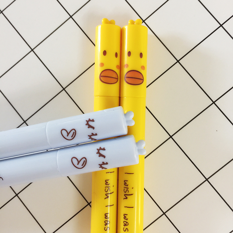 J04 4X Cute Adorable Yellow Duck Gel Pen Writing Signing Pen School Office Supply Student Stationery Kids Black 0.5mm