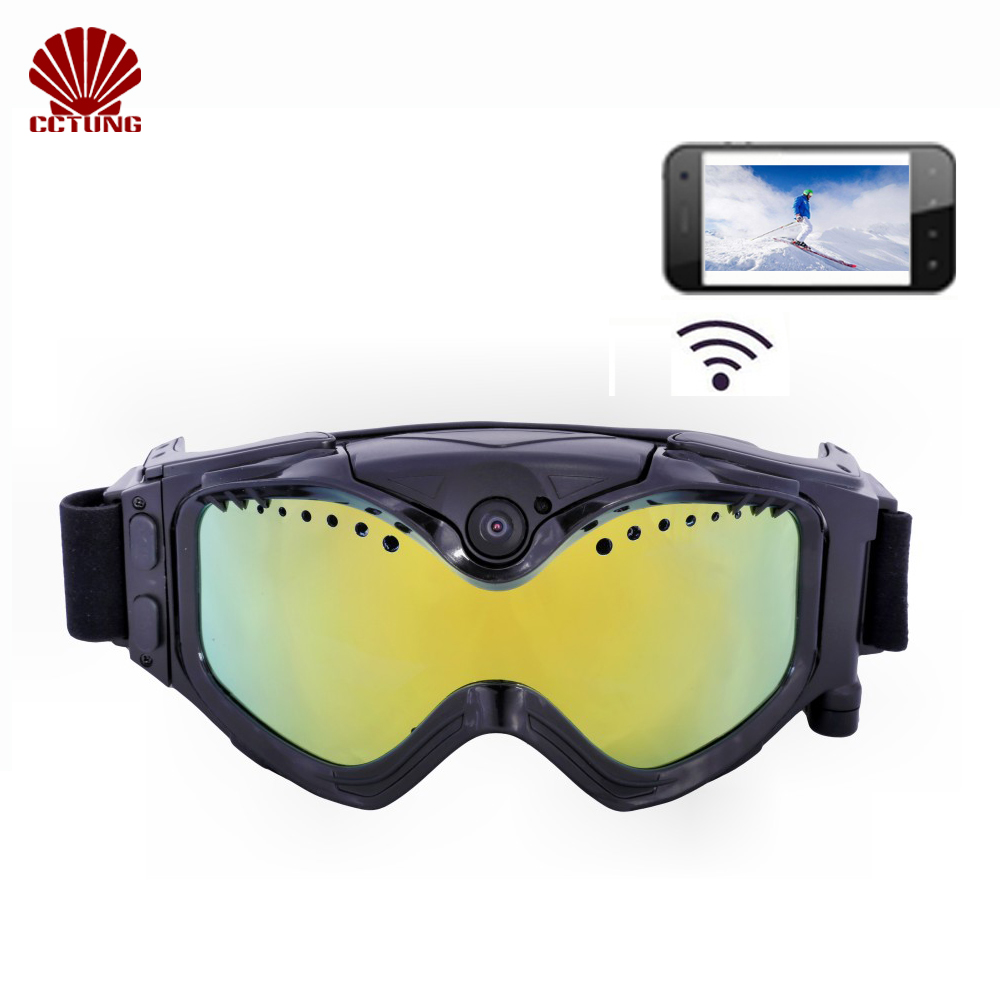 1080P HD Ski-Sunglass Goggles WIFI Camera & Colorful Double Anti-Fog Lens for Ski with Free APP Live Image Video Monitoring gold frame colorful lens round sunglass