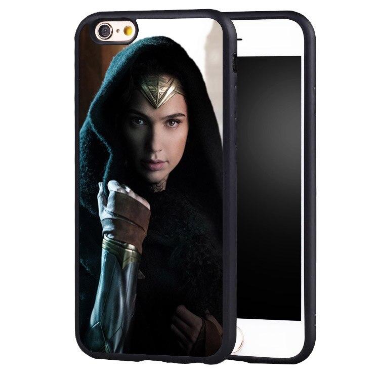 Чудо-Женщина лицо печатных мягкой резины Телефон обложка чехол для iPhone 5 5C 5S SE 6 6 плюс 6 S 7 Plus