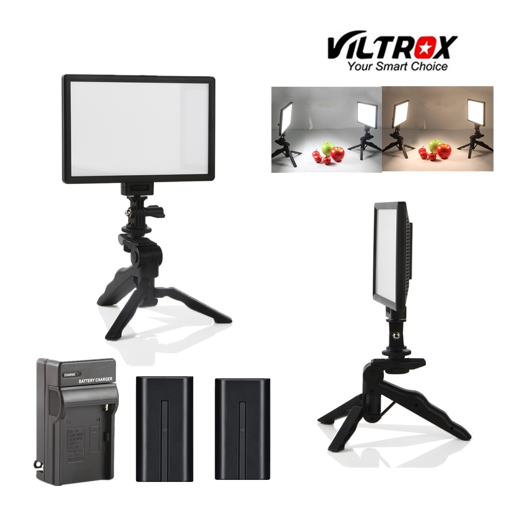 Viltrox 2x L116T Video Studio Camera LED Light LCD Bi-Color Dimmable + 2x Folding Handheld Tripod Stand + 2x battery charger filtron k1180 2x