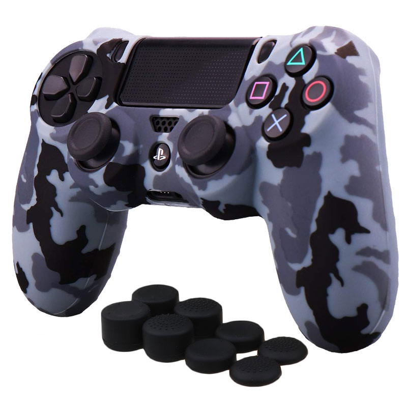 Transfer Printing Camouflage Silicone Cover Skin Case for Sony PS4/PS4 slim/Pro DualShock 4 Controller with 8*Thumb Grips Caps