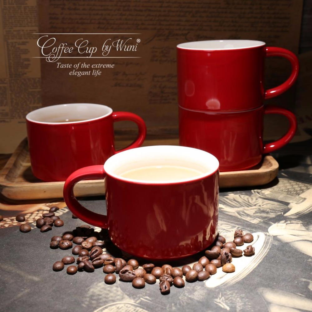 office coffee mug. 300ml german cafe mugs simple red color ceramic office coffee for breakfast with spoon mug