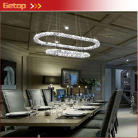 Modern Clear Crystal Chandelier 2 Ring Creative Lighting Cold White LED Lamp Indoor Ligting L34 W16 H55 Adjustable