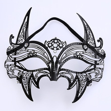 Metal Hollow Out Diamond Mask Ball Half-face Blindfold Iron Horn Pointy Party