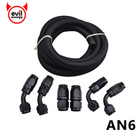 evil energy AN6 Fuel Hose End 0+45+90Degree Hose Adaptors Aluminum Fittings With Stainless Steel Oil Fuel Hose Line 3Meter