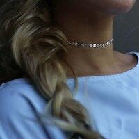 Manual chain Statement Choker Necklace // Bohemian Coin Disc Choker Necklace XL329