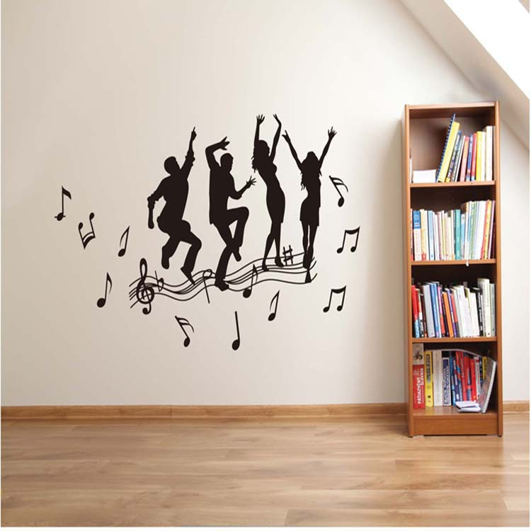 Dancer And Music Notes Wall Decor Sticker Home Vinyl Decal