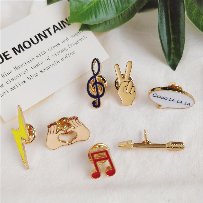 Fashion Musicial Note Yeah Gesture Lightning Arrow Enamel Brooch For Music Lovers Jeans Collar <font><b>Pins</b></font> <font><b>Button</b></font> Badge Kids Gifts image
