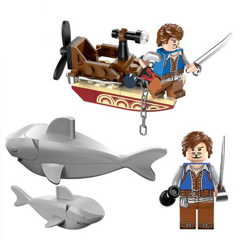 45pcs set Shark Knights Pirates DIY Building Blocks Toy Kit