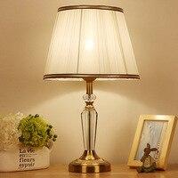 Туда Бесплатная доставка Европейский Стиль K9 Кристалл Настольная лампа современный минималистский белая ткань тени настольная лампа Home