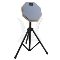 Yibuy Gray 8inch Practice Training Drum Pads Adjustable Stand Set For Drummers