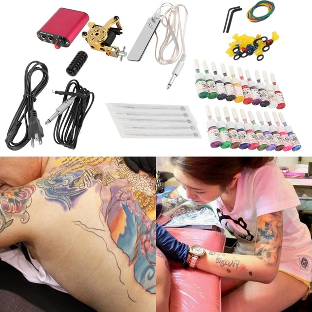 New Tattoo Machines Gun Equipment Power Supply 20 Color Ink Cup Tattoo Set Brand New