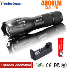 Lanterna XM-L T6 4000LM Tactical Flashlight Torch Zoom Linternas LED Flashlight for 3xAAA or 1x 18650 Rechargeable Battery(China)