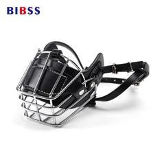 Black Large Dog Muzzle Metal Wire Basket Leather Anti bite Masks Mouth Cover Bark Chew Muzzle