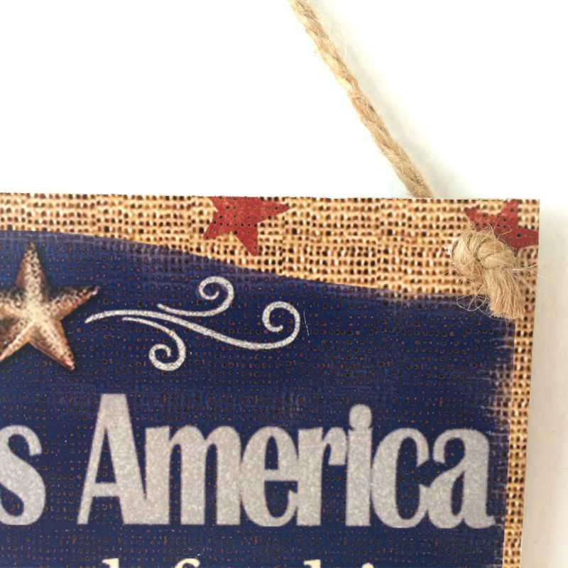 Image 2 - Rustic Wooden Hanging Plaque Sign Board God Bless America Room Wall Door Home Decoration Gift-in Plaques & Signs from Home & Garden