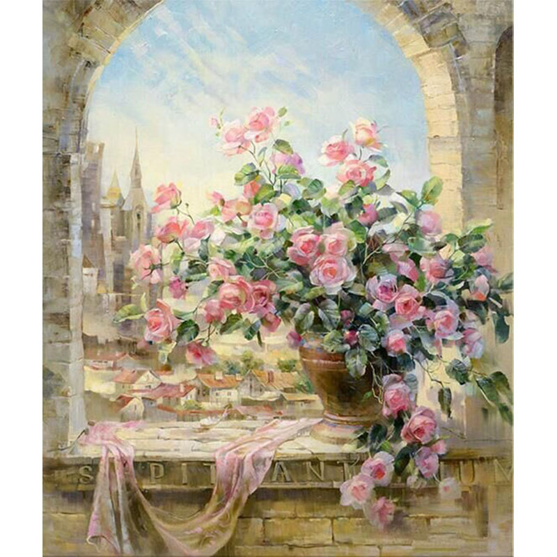 Framed] DIY Paintings Paint By Number Kit Romantic Rose Flower ...