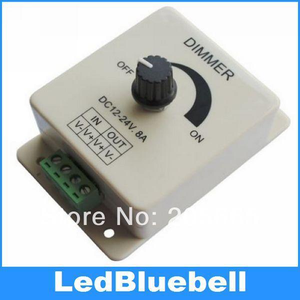 Velkoobchod 60pcs / šarže 12V / 24V 8A LED spínač / stmívač pro LED 5050 3528 5630 7020 Pásové světlo Dimmer Controller