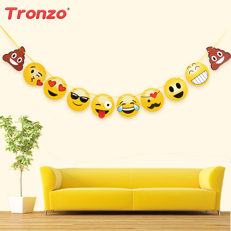 Tronzo 10pcs/lot Party Banner Paper Cartoon Expression Flag Emoji Theme Party Decorations For Kids Birthday Party Supplies