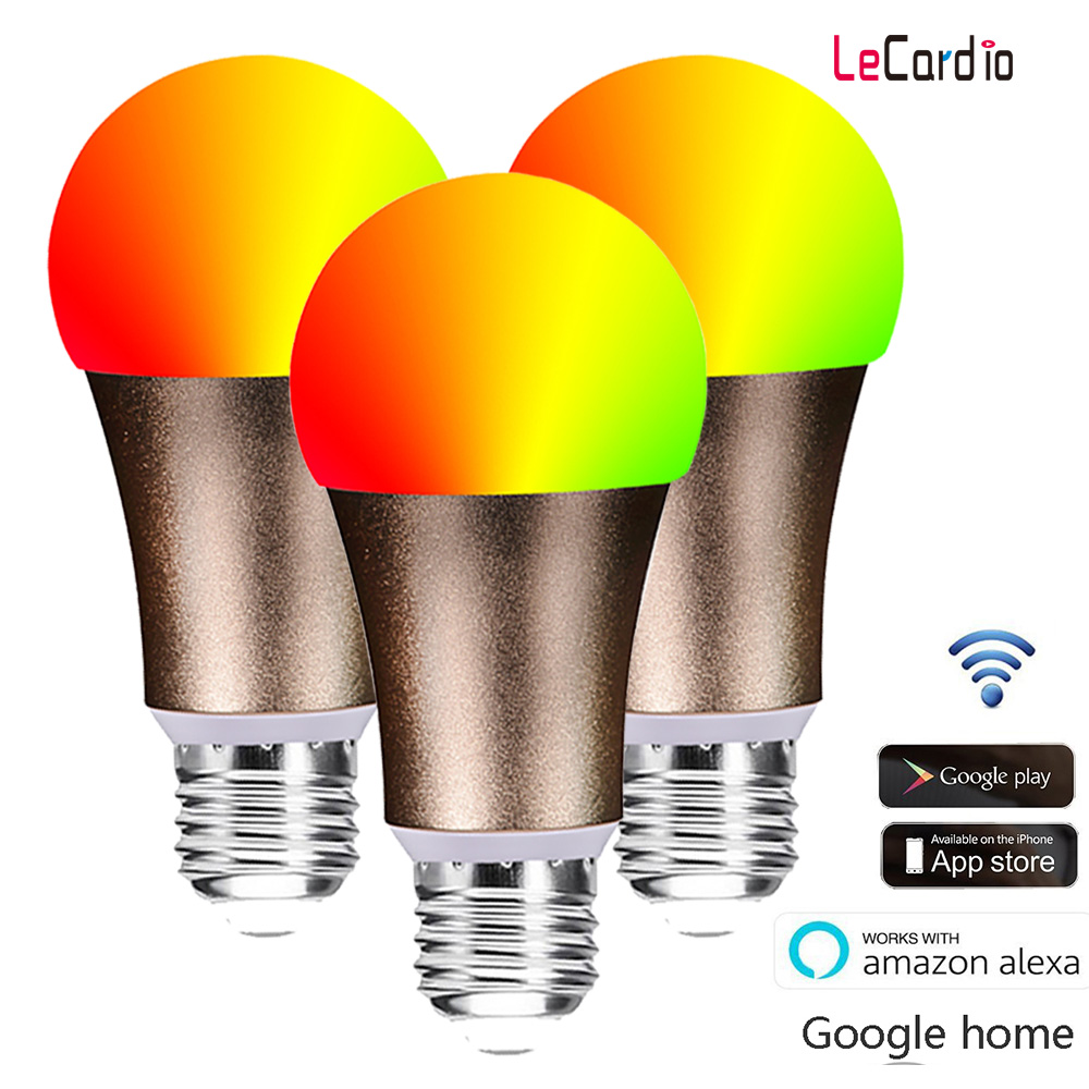 LED WiFi Smart Light Bulb RGBW E27 E26 LED Lamp, Dimmable Wake Up Lights Compatible with Alexa & Google Home Assistant Nest 3PC