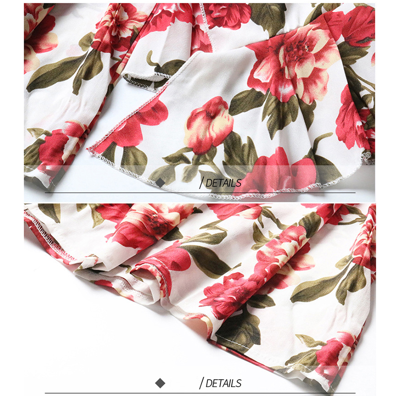 2019 New Summer Women Tops Chiffon Sexy Beach Style Red White Floral Print Slash Neck Strapless Flare Long-sleeved Blouses
